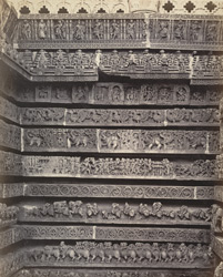 Views in Mysore. Ruined temple of Hallabeed [Hoysalesvara Temple, Halebid]. Detail of carvings on base of eastern face 212623